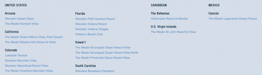 Starwood Vacation Ownership Locations
