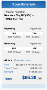 Head from New York's (JFK) to Tamps for $66.20 roundtrip.