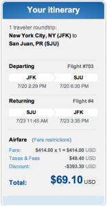 New York (JFK) to Orlando for $69.10 roundtrip.