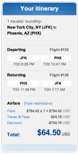 New York (JFK) to Phoenix for $64.50 roundtrip.
