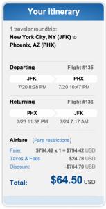 New York (JFK) to Phoenix for $64.50 roundtrip.