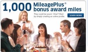 Earn 1,000 bonus miles with MileagePlus Dining.