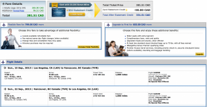 Air Canada Los Angeles-Vancouver flight booked through United.