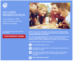 Earn 1,500 bonus Delta SkyMiles when you sign up for Dining Rewards.