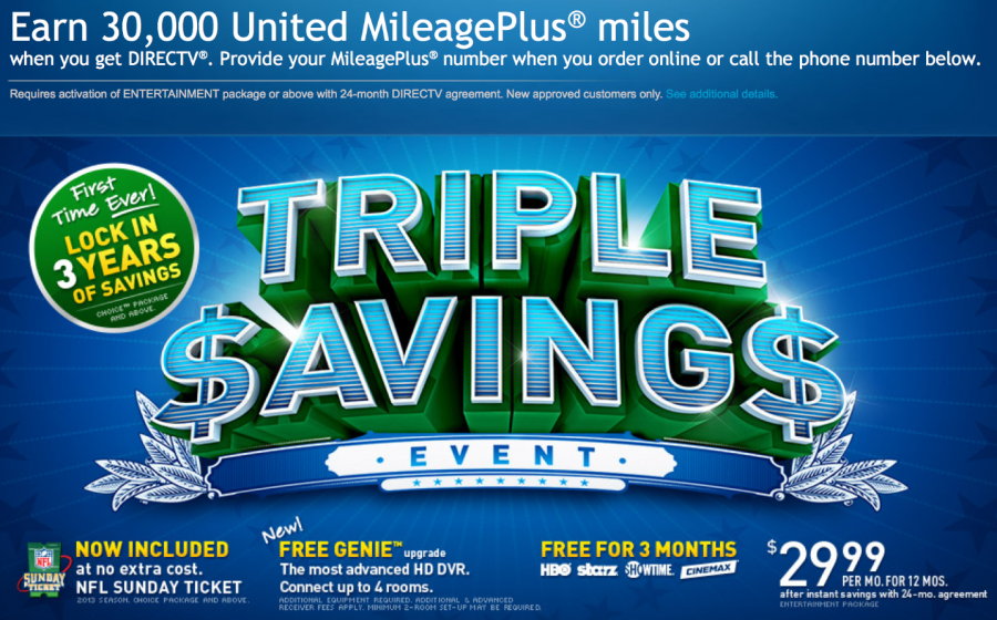 Earn 30,000 United miles with DirectTV.