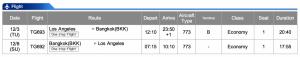 Thai Airways LAX-BKK Economy Class Dec 3- Dec 8