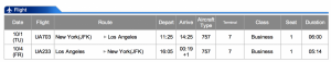 United JFK-LAX Business Class Oct 1-Oct 4