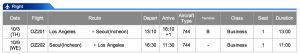 Asiana LAX-ICN Business Class Oct 3- Oct 9