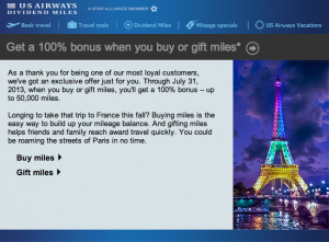 US Airways 100% bonus Buy Miles offer.