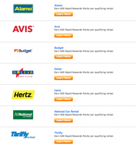 Southwest partners with many of the major car rental companies.