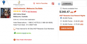 Your value back in this case would be about $240 if redeeming at the Intercontinental Melbourne.