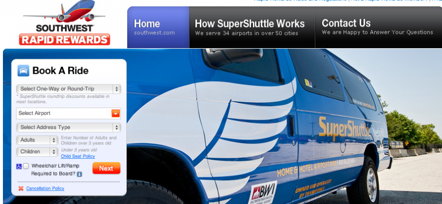 Getting The SuperShuttle To Airport Can Now Add Your Rapid Rewards Account