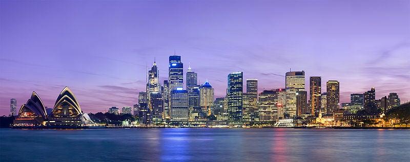 The Sydney skyline at night.