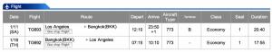 Thai Airways LAX-BKK Economy Class Jan 11 - Jan 16