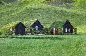 Traditional turf houses still litter grassy hillsides.