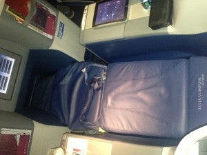 The seat in lie-flat position on Delta's 747-600.