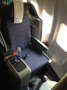 United Business Class seat