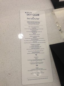 Sky Club Drink Menu.