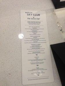 Sky Club Drink Menu.