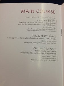 Main Course choices