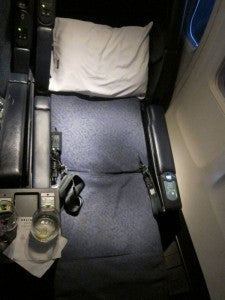 United's old First Class seat- not as good as the new lie-flat business class seat, in my opinion