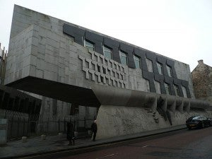 The Scottish Parliament building's contemporary architecture is a stark contrast to the rest of the Royal Mile.