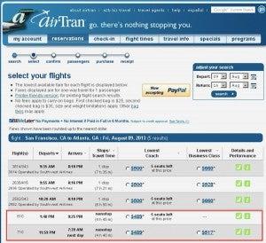 Airtran flight listings
