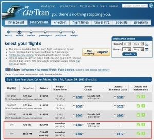 Airtran flight listings