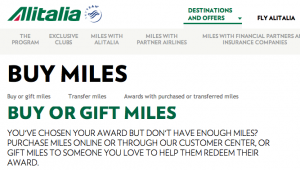Alitalia Buy Miles promotion