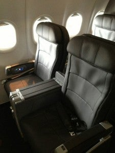 The A319 First Class cabin has a 2-2 configuration.