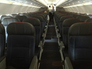 The Main Cabin has leather seats in a 3-3 configuration.