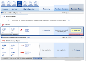 BA search results now include partners, even when BA options are available. A welcome change!