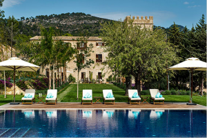 The pool at the historic Castell Son Claret.