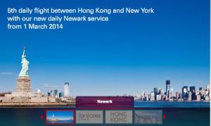 Cathay Pacific announces Hong Kong-Newark service.
