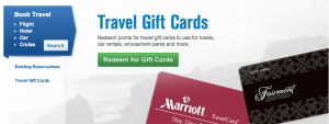 Redemption options include travel gift cards.