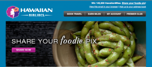Send food photos to win 140,000 Hawaiian Airlines miles.