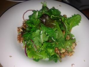 Fresh vegetable salad with walnuts.