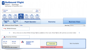 Miami to Santiago on American Airlines booked through British Airways.