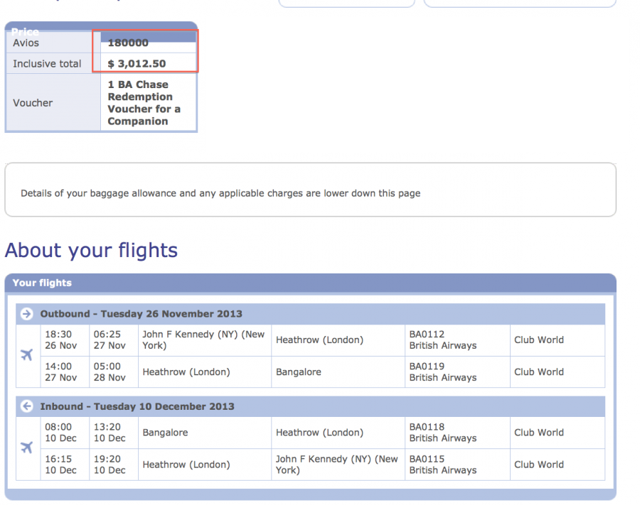 NYC to Bangalore in Club World for 180,000 Avios and $3,000 for two tickets using the Travel Together Ticket