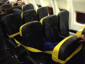 Ryanair cordons off the coach seats in the front of the plane because they charge for them. If no one buys them, everyone pays by cramming in more (Taken on a recent Edinburgh-Dublin flight)