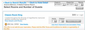 $99 per night at the Arizona Biltmore.