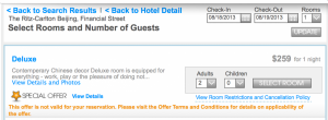 $259 per night at the Ritz-Carlton Beijing