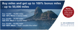 Earn up to a 100% bonus on purchased US Airways miles.