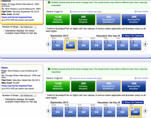 Tons of mileage saver availability in first from Chicago-New Orleans in Sept bringing the cost down to 42,500 miles.