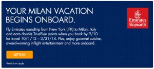 Earn double TrueBlue points to Milan.