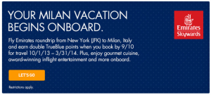 Earn double TrueBlue points to Milan.
