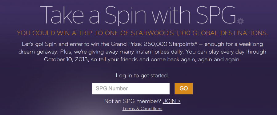 Starwood's Spin the Wheel Promotion