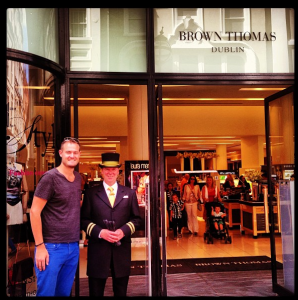 My first lucky charm was this swanky doorman at my favorite department store, Brown Thomast.