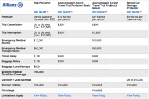 American offers trip insurance through Allianz.