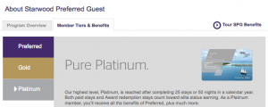 Starwood Preferred Guest program is broken down into basic, gold and platinum.